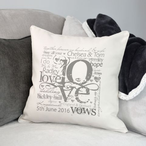 Personalised Wedding Or Engagement Love Cushion